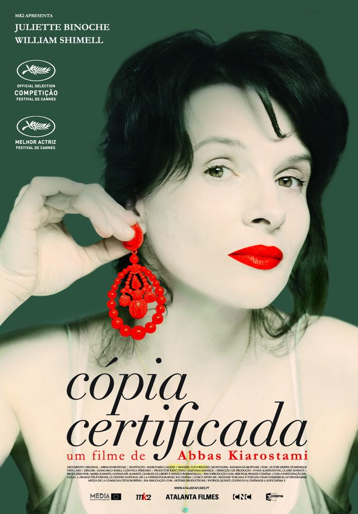 Certified Copy -~ Best movie I saw last year. Juliette Binoche won Cannes Best Actress for this film by Abbas Kiarostami, his first made outside Iran. She plays a gallery owner in Italy who attends a lecture by a British author (opera star William Shimell) on authenticity & fakery in art.