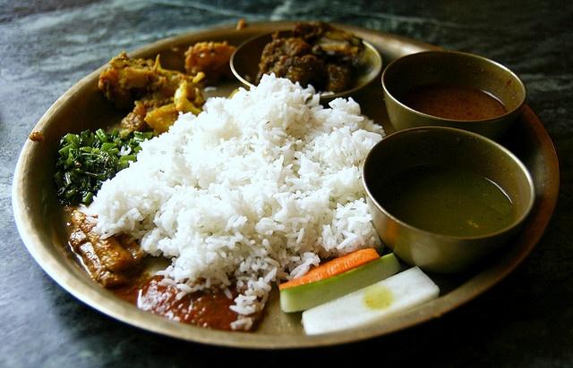 Haha big 'ol plate of dhal bhat. Nepal.