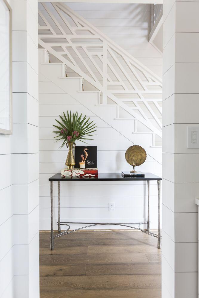 Custom Coastal Inspired Stairwell White Shiplap Walls Wide