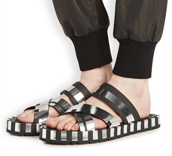 Studi di acne design in metallo gusto sandali, l'italia ha importato pelle bovina softe cuoio, colore argento per le donne, gli uomini quattro stagioni usura(China (Mainland))