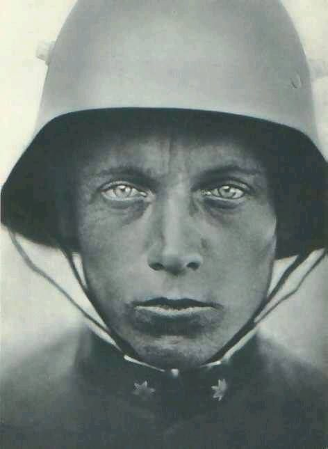 The Thousand Yard Stare... Portrait of a Austrian Lance Corporal c.1918 wearing a Stahlhelm helmet - WW1 soldier