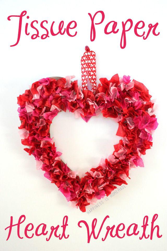 15 Cutest Valentines Crafts for Kids - DIY Tissue Paper Heart Wreath #Valentines #KidsCraft