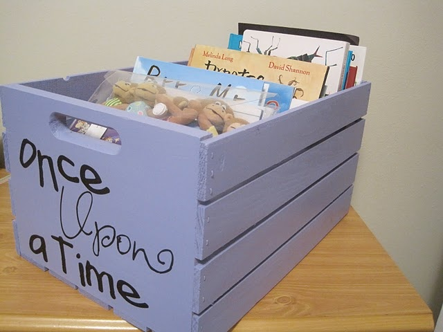 """painted crate to keep library books in one place.... I Love things like this. I have always done stuff like this when possible... I need several """"crates"""""""