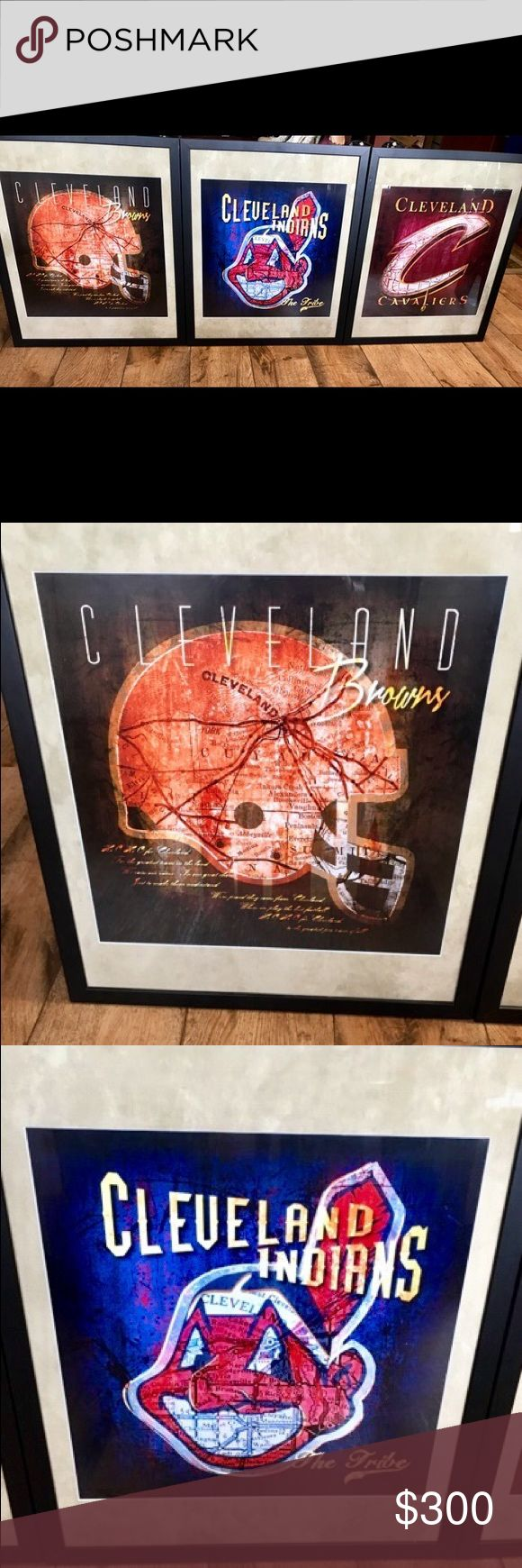 Cleveland Teams framed Prints +FREE GIFT! Display your loyalty for the Indians, Cavs & Browns w this 3-piece set! High quality, tasteful prints, professionally framed & matted. Each piece has a subtle shadow map of Cleveland running in the background. Last pic shows your FREE gift w purchase!! Other