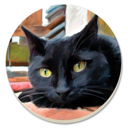CounterArt Black Cat Absorbent Coasters, Set of 4