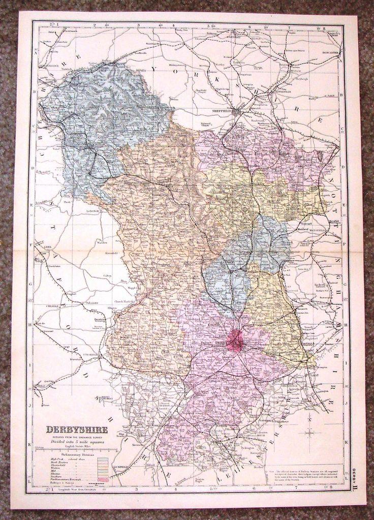 Antique Maps UK England Derbyshire