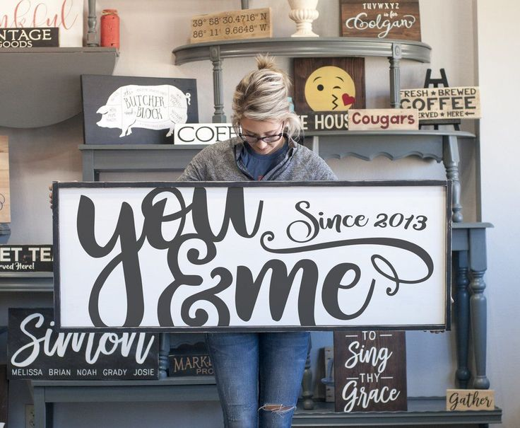 """Large Framed Farmhouse Style """"you and me"""" wood sign"""