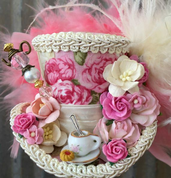 Micro Mini cilinderhoed Tea Cup hoed roze bloem hoed door ChikiBird