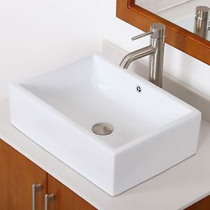 Bathroom Square White Ceramic Porcelain Vessel Sink Brushed Nickel Faucet | $139