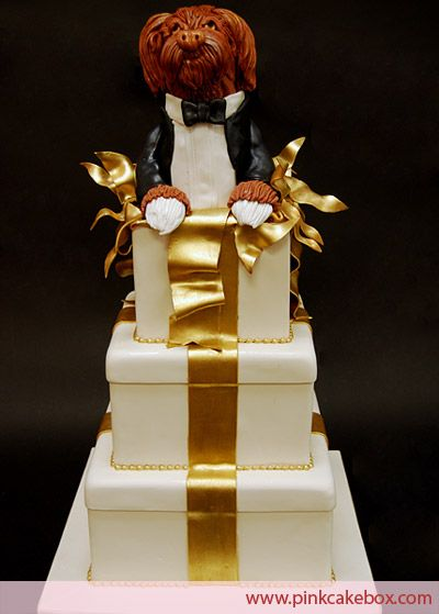 Doggy Gift Box Wedding Cake