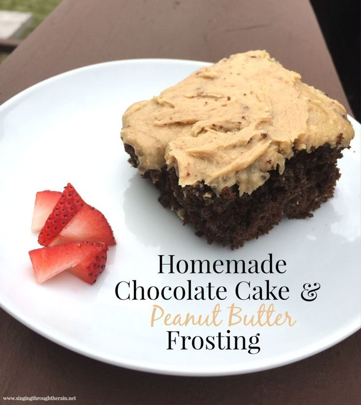 Homemade Chocolate Cake & Peanut Butter Frosting |  The peanut butter frosting is my favorite part and really makes the cake. If you have never had a chance to make a cake from scratch, this is the one to try. Enjoy!