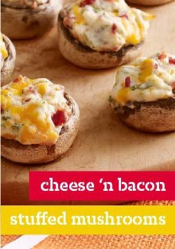 Cheese 'n Bacon Stuffed Mushrooms What You Need12 large fresh mushrooms (1 lb.) 4 oz. (1/2 of 8-oz. pkg.) PHILADELPHIA Cream Cheese, softened 1 clove garlic, minced 4 slices OSCAR MAYER Bacon, cooked, crumbled 1/2 cup KRAFT Shredded Sharp Cheddar Cheese 1 Tbsp. chopped fresh parsley