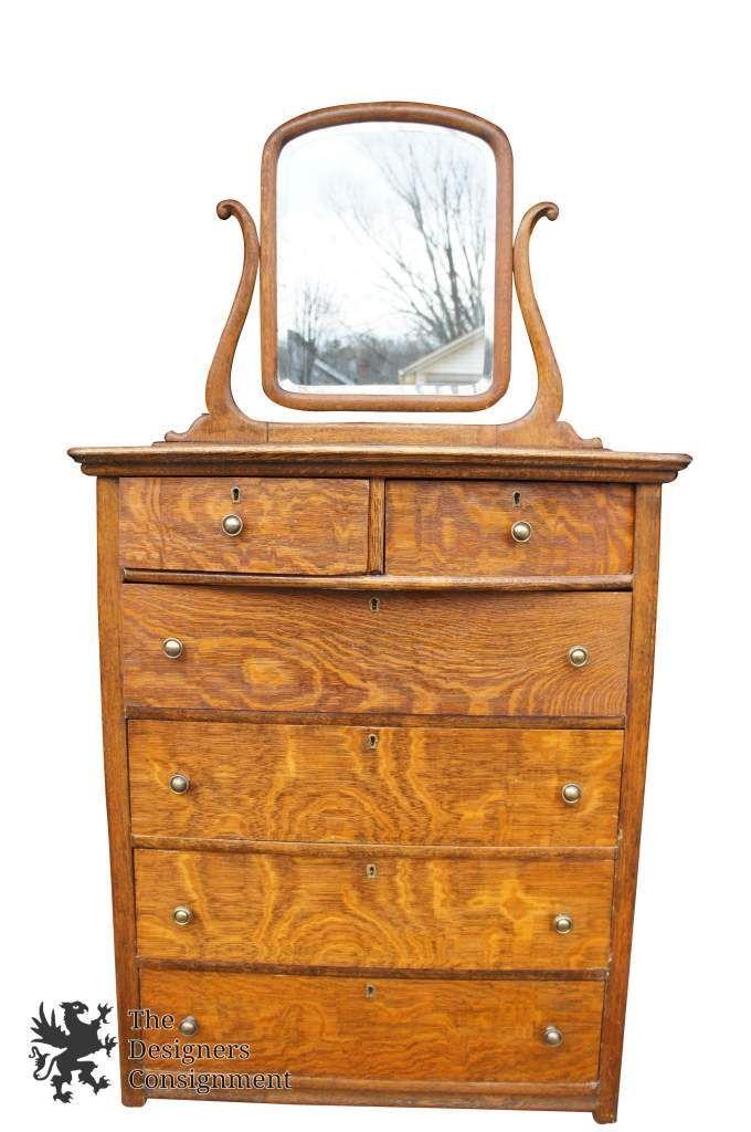 Antique Quartersawn Tiger Oak Dresser Original Beveled Mirror Tallboy Bowfront | The Designers Consignment