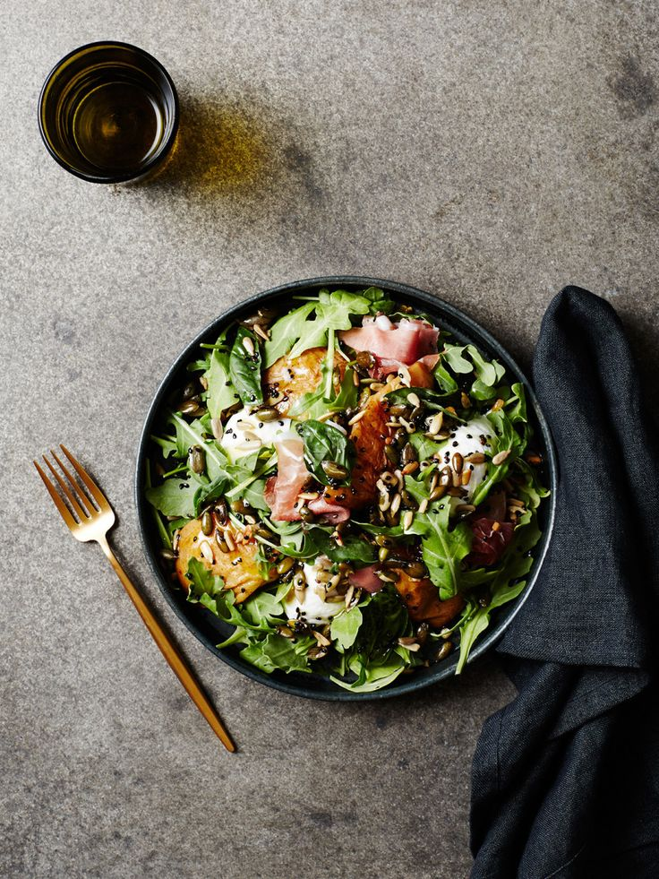 Roasted pear, basil and buffalo mozzarella salad with prosciutto by Ashley Alexander of Gather and Feast. Photo – Annette O'Brien. Styling – Nat Turnbull.