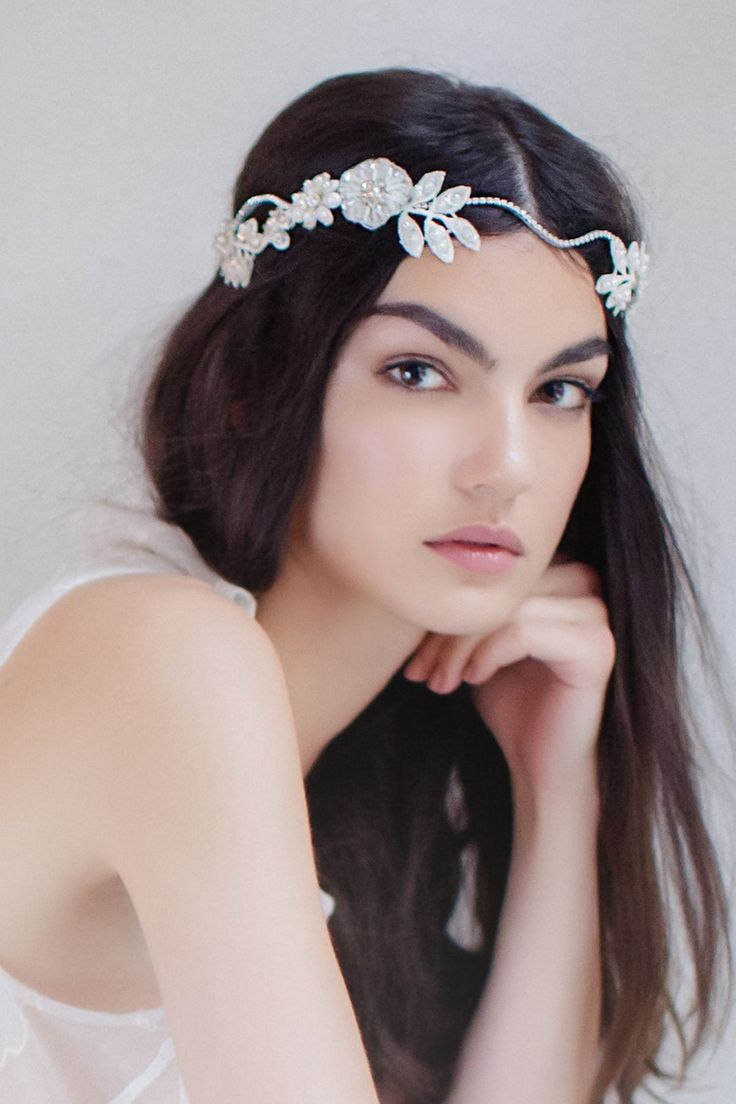 Swoon over jannie baltzer s wild nature bridal headpiece collection - It Is Perfect For The Bohemian Bride Adorned With Hand Beaded Guipure Lace Flowers Leafs French Lace Preciosa Crystals And Pearls