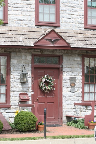Fieldstone house with red trim in Strasburg, Pa