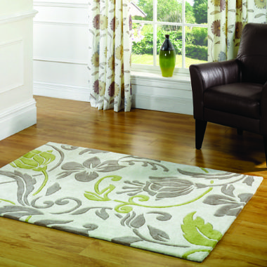 Infinite Damask Natural / Green Rug - Starting from £44 | brandinteriors.co.uk