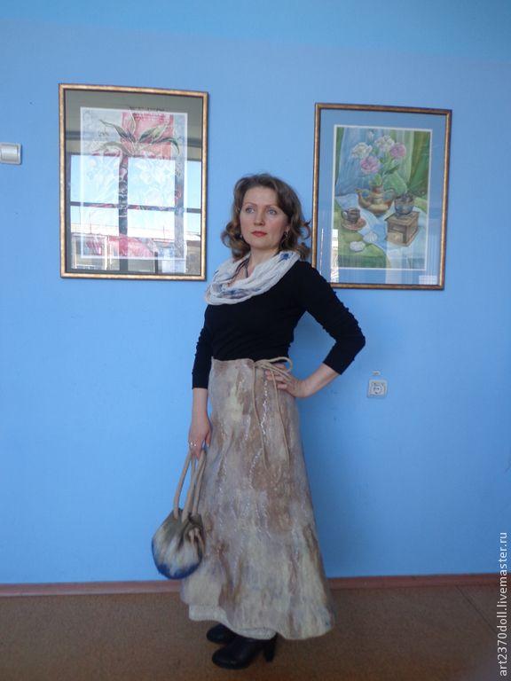 """Купить Юбка """"Весенний лес"""" - бежевый, рисунок, юбка длинная, юбка зимняя, авторская одежда"""