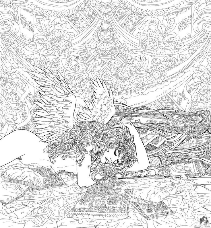 by on deviantart angel fantasy myth mythical - Fantasy Coloring Pages Adults