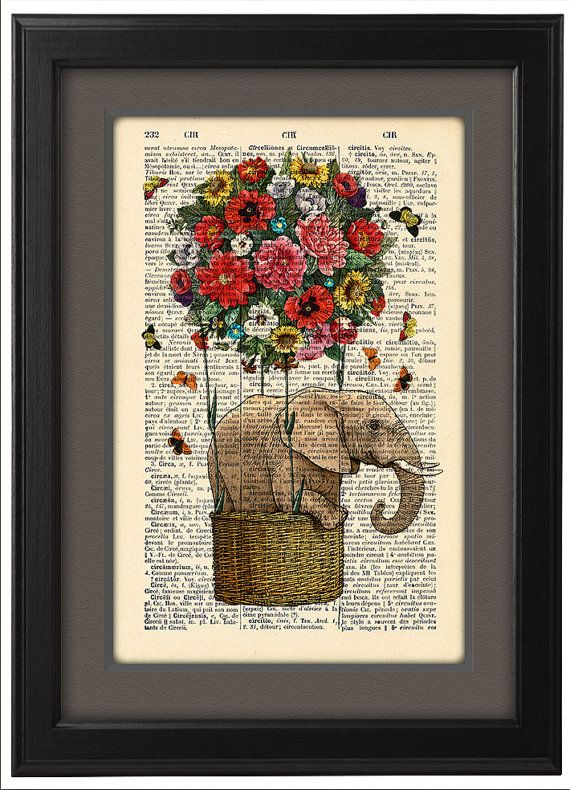 Flying Elephant art print, Colorful flowers balloon, DICTIONARY Print  poster, Dorm decor, Home Wall decor, gift poster, CODE/203