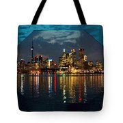 CN  Tower and Toronto Down Town Water Front beauty at night Hexagon Poster  Tote Bag by NAVIN JOSHI
