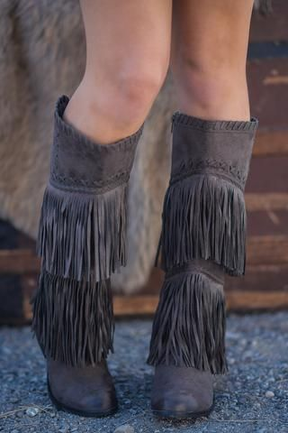 Fringe Thrills Braid Detailed Tall Fringe Boots (Dark Charcoal) - NanaMacs.com - 1