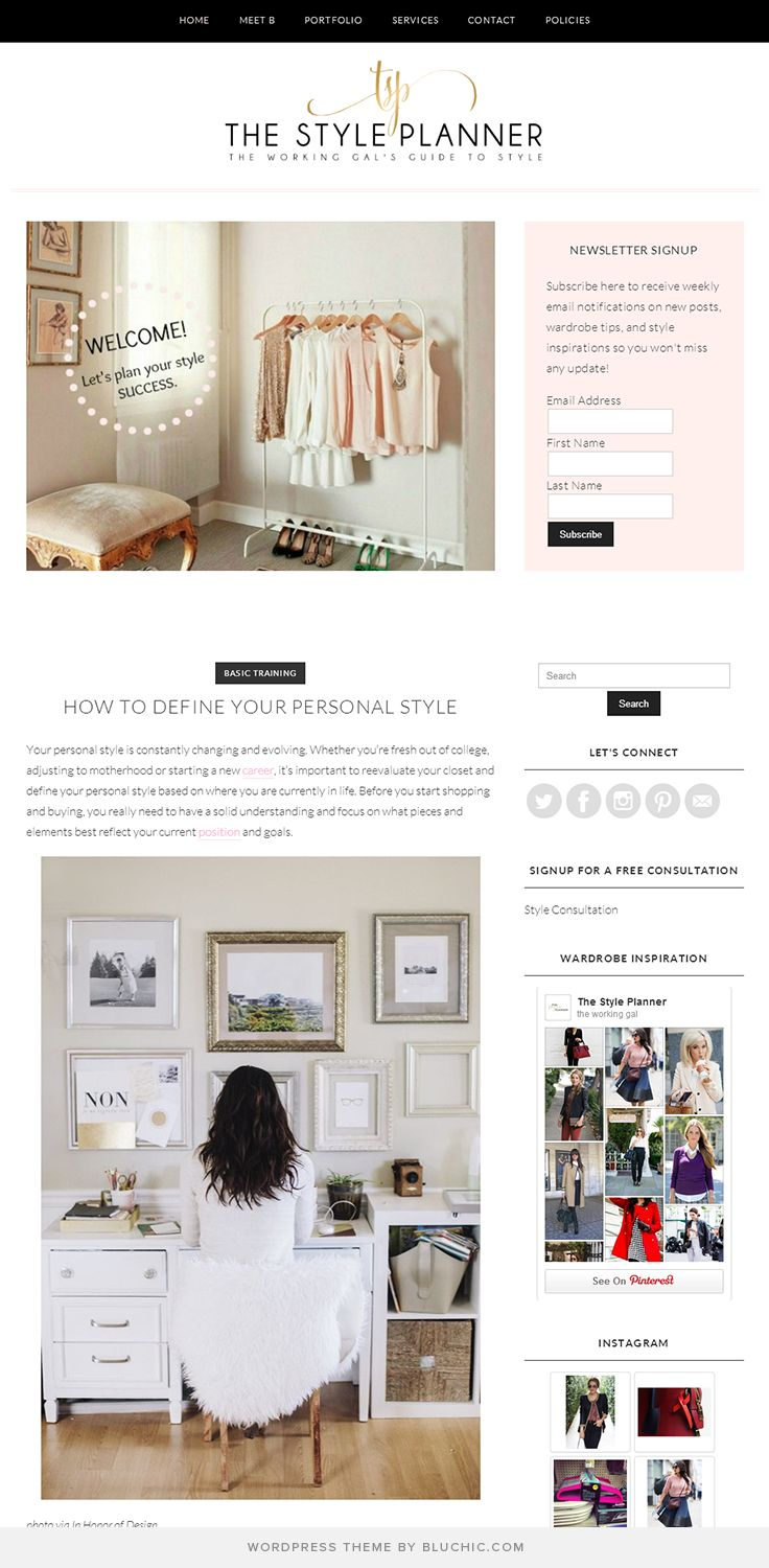 stylish blog design for the working gals guide to style using marilyn theme by bluchic - Blogs On Design