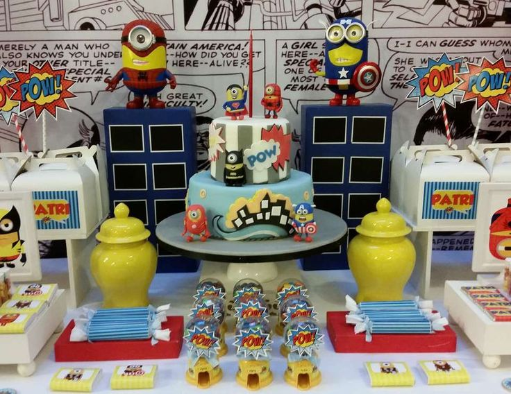 "Despicable Me / Minions / Birthday ""Patry Birthday Minions Superheroes"" 