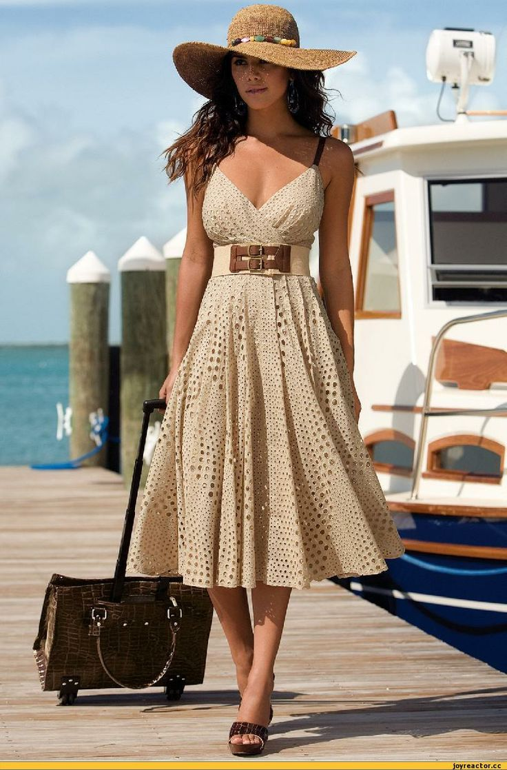 South beach or any beach. resort style and fashion | sexy girl in beige with hat& great looks LL:)