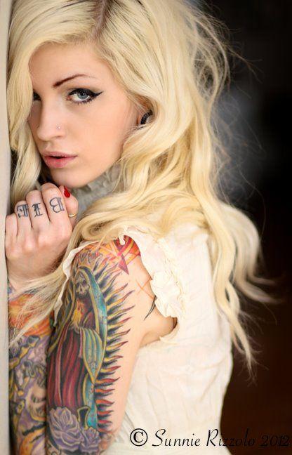 Blonde tattoo girl