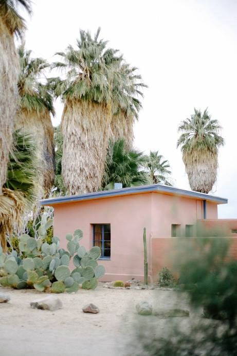 Coyote Atelier desert cottage goals: a tiny peach stucco house in Joshua Tree or Palm Springs and all will be right in the world.