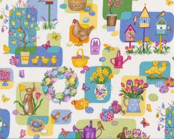 "Patchworkstoff+\""Easter\""+mit+süßen+Oster-+und+Frühlingsmotiven,+hellgrün-gedecktes+türkis-pastellgelb"