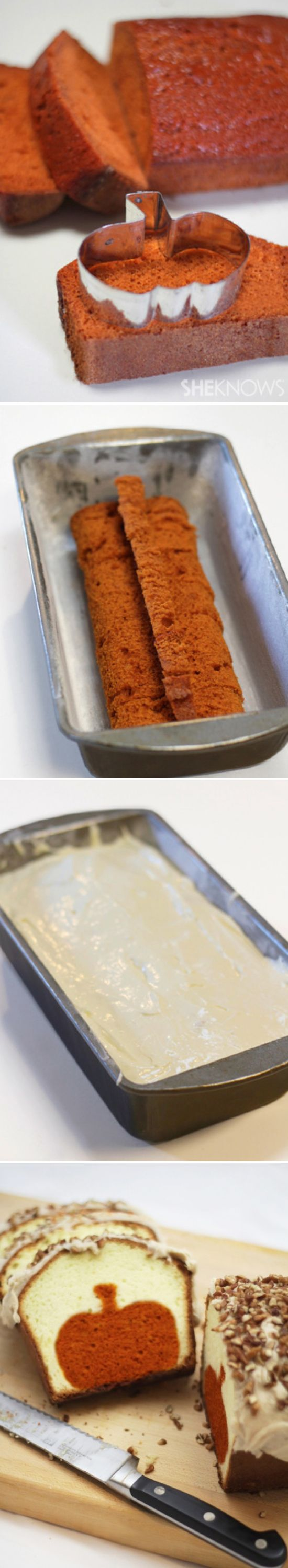 Peekaboo pumpkin pound cake.  You could try it with any shape and flavor cake...seems like a lot of work, but its a neat idea!