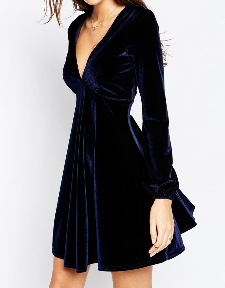 Oooh this is pretty Image 3 of ASOS Velvet Skater Dress With Bell Sleeve And Piping