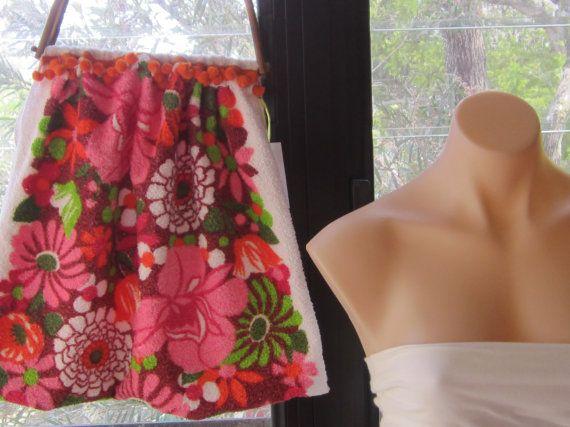 Vintage 1960s Pink Daisy Terry Fabric Market Bag by byShoebridge