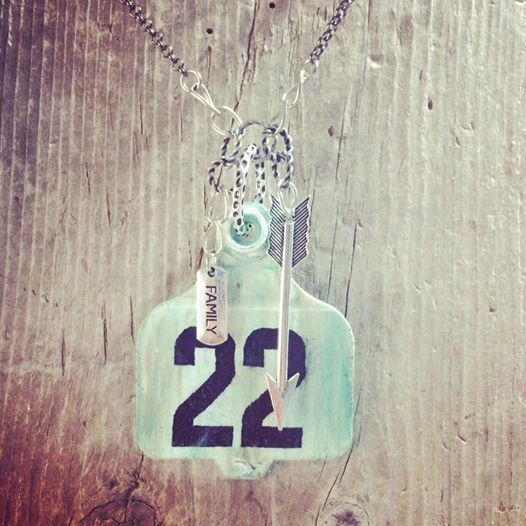 Cattle tag pendant necklace ear tag jewelry