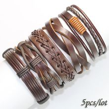 5PCS Vintage brown wristband wholesale handmade genuine real leather bracelets men&bangles for women Pulseira Masculina Feminina(China (Mainland))