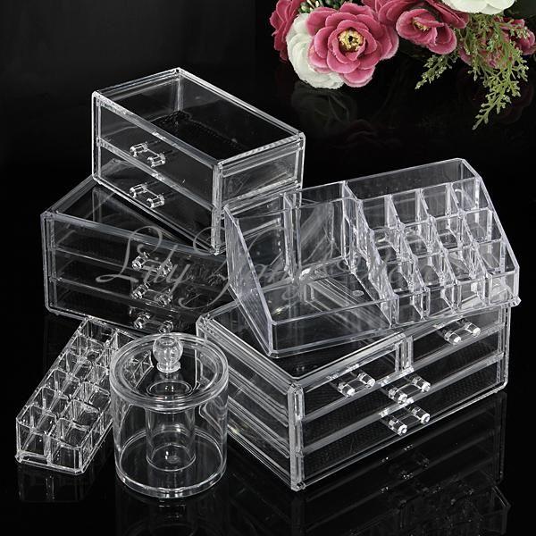 Cosmetic Clear Makeup Lipstick Brush Holder Organizer Drawer Acrylic Storage Set | eBay