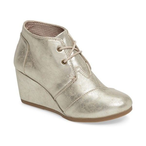 Women's Toms 'Desert' Wedge Bootie (335 ILS) ❤ liked on Polyvore featuring shoes, boots, ankle booties, gold, ankle boots, wedge booties, toms booties, lace up wedge bootie and lace up ankle boots