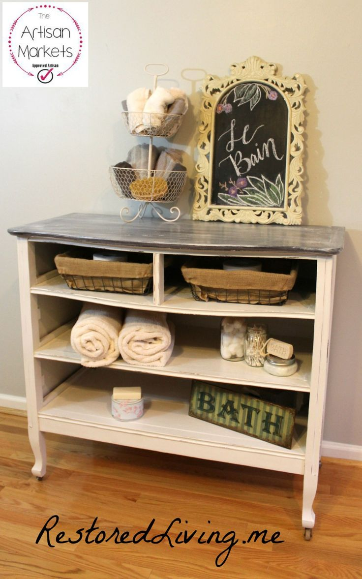 Chalk painted Repurposed Dresser into a Shelving Unit with Baskets