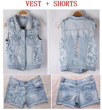 Autumn women lace patchwork denim vest s…