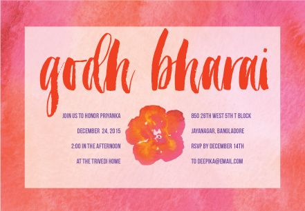 Watercolor Godh Bharai | Custom Godh Bharai Invitations