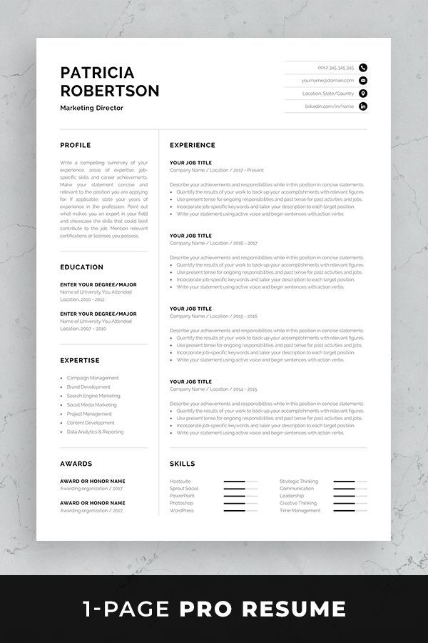 Professional 1 Page Resume Template Modern One Page Cv Word Mac Pages Minimalist Design Developer Designer Marketing Patricia One Page Resume Template Resume Template Professional Resume References