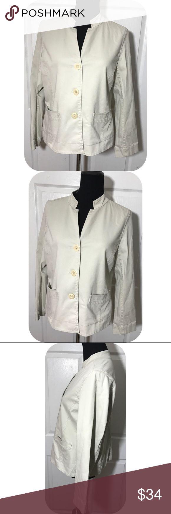 Eileen Fisher stretch cotton khaki blazer jacket GUC - stretch cotton - unlined - pockets - button front Eileen Fisher Jackets & Coats