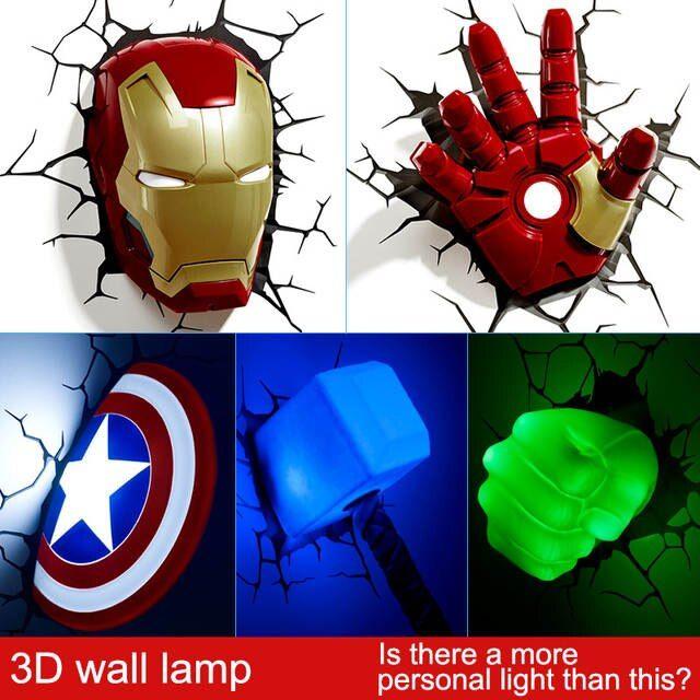 Online Shop أعجوبة المنتقمون Led الجدار مصباح السرير غرفة نوم 3d الإبداعية مزينة ضوء ضوء الليل Aliexpress Mobile Marvel Room Avengers Room Marvel Bedroom