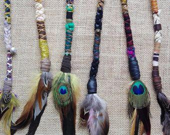 Clip-in or Braid-in Wool Dreadlock Extensions - Long Feather Hair Extensions- Dreadlock Clip - Hippie Hair Wraps - Boho Dreads Hair Wraps
