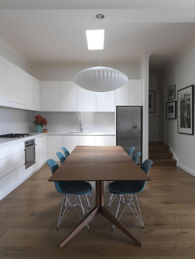 STEEPLE APARTMENT | alwill  #skylight #interiors #kitchen #diningroom #diningtable #pendant #wood