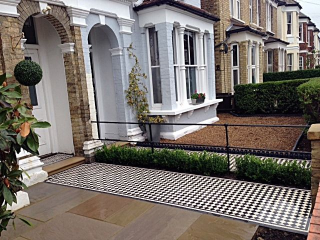 balham black and white victorian mosaic tile path sandstone paving yellow brick london wall and imperial metal iron gate (4)
