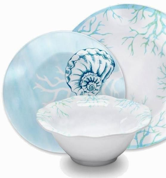 Turquoise Reef Melamine Dinnerware  sc 1 st  Pinterest & 68 best The Unstable Table images on Pinterest | Coastal Melamine ...