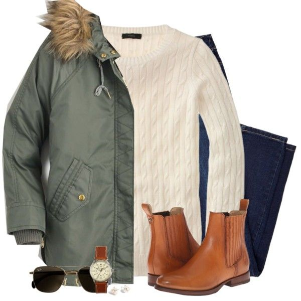 J.Crew parka, cable knit sweater & Frye boots by steffiestaffie on Polyvore featuring J.Crew, Frye, women's clothing, women's fashion, women, female, woman, misses and juniors